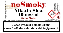 Nikotin Shot - noSmoky Swiss Made 10mg/ml